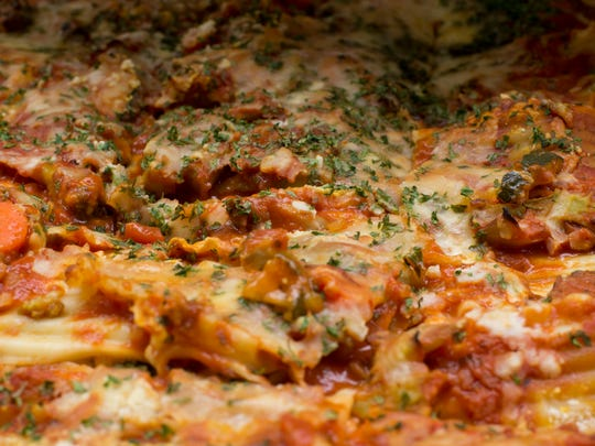 Vegetable lasagna sits ready be served to students at Dover Area High School.