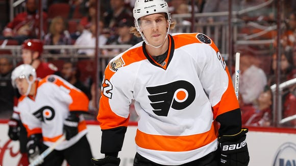 New Flyer Dale Weise will begin serving a three-game suspension Saturday night.