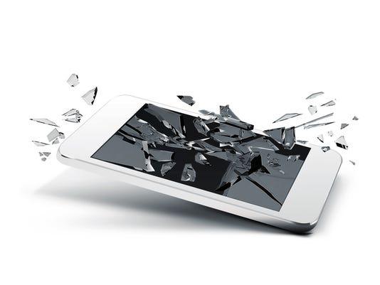 broken glass smart phone