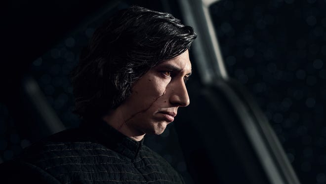 "Adam Driver playing the villain Kylo Ren in ""Star Wars: The Last Jedi."""