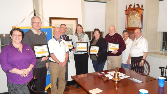 Pictured, from left, are: Rotary Club of Eastern York County President Melissa Wirls; Richard J. Donnelly Jr., CEO/co-owner, Frey Lutz Corp.; Mike Wanbaugh, committee member; Philip Lehman, Rotarian; Bess Mann, executor, Smith Foundation; Susan Myers, owner, Sue's Market; Kenneth Stoner, Rotarian; Sharon Stoner, committee member; and Terry Wallace, Rotary chairperson.