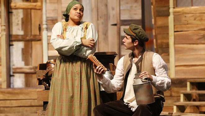 """Fond du Lac High School students Zakia Trotter and Grant Petik rehearse """"Fiddler On The Roof."""""""