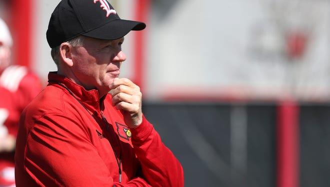 U of L head coach Bobby Petrino observes practice.Mar. 29, 2016