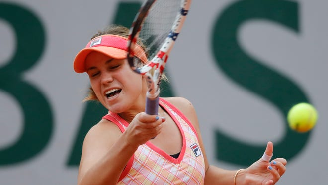 Sofia Kenin plays a shot against Danielle Collins in their French Open quarterfinal on Wednesday.