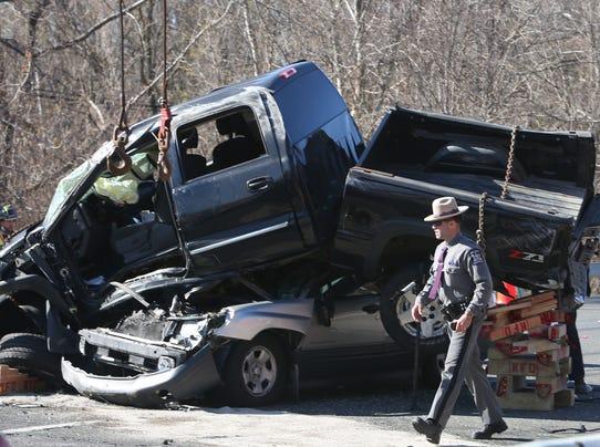 Serious crash on I-684 injures 4, backs up traffic