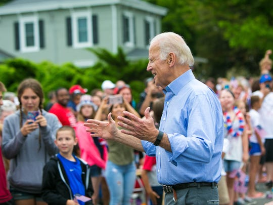 Vice President Joe Biden surprises the crowd as he