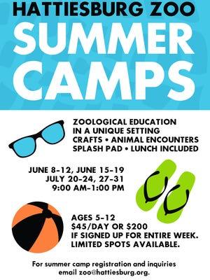 Hattiesburg Zoo summer camps flyer