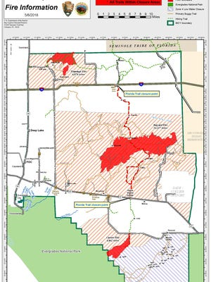 A map shows a group of brush fires in Big Cypress National Preserve, known as the Avian Complex, as of Tuesday, May 8, 2018.