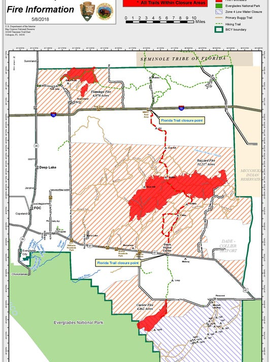 Collier County Wildfire Map.Three Big Cypress Fires Have Scorched 40 000 Acres Officials Say