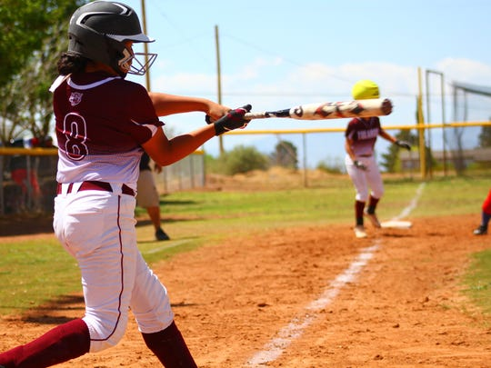 Tularosa eighth-grader Romona Fossum hits a ball Saturday afternoon.