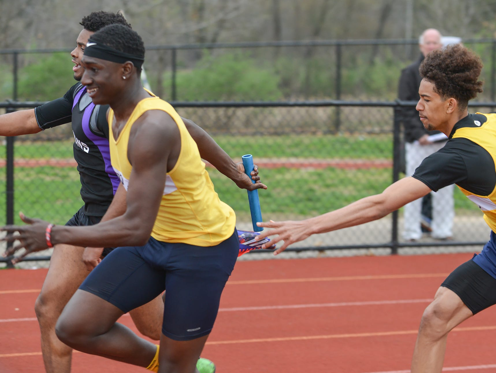 Battle Creek participates in the 800 Meter Relay during the 2016 All City Track Meet held at Harper Creek High School Friday afternon.