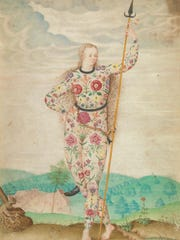 "This undated photo provided by the New York Botanical Garden shows Jacques LeMoyne de Morgues' ""A Young Daughter of the Picts,"" ca. 1585, watercolor and gouache, touched with gold on parchment. The piece is part of what is being called a sort of coming out party for Rachel ""Bunny"" Mellon's enormous art collection. More than 50 rare masterpieces from her collection, most never before shown in public, are now on view in ""Redouté to Warhol: Bunny Mellon's Botanical Art,"" at the New York Botanical Garden. The show will remain on view through February 12, 2017."
