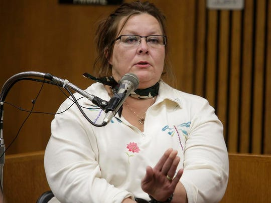 Lorna Beth Riikonen testifies in Bob Bashara's murder trial Wednesday, Nov. 5, 2014, before Wayne County Circuit Court Judge Vonda Evans.