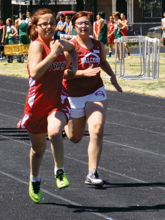 Eight grader Skylar Brown, of Corona, competes in her first 400 meter dash.