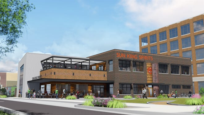 A rendering of the distillery Sun King plans to build in partnership with Old Town Development in the Midtown area of Carmel.