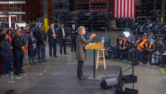 Hillary Clinton speaks to workers at the Detroit Manufacturing