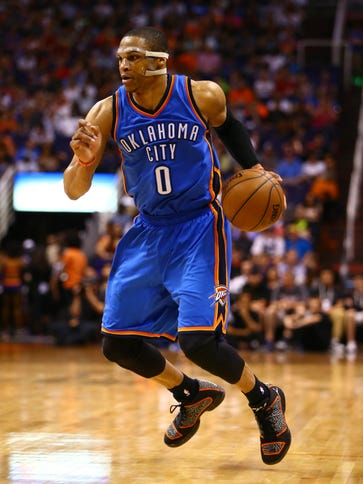 Oklahoma City Thunder guard Russell Westbrook (0) has