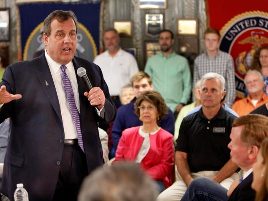Gov. Chris Christie speaks during a town hall style meeting Wednesday, July 1, 2015, in Ashland, N.H. He's back in New Hampshire this weekend. (AP Photo/Jim Cole)