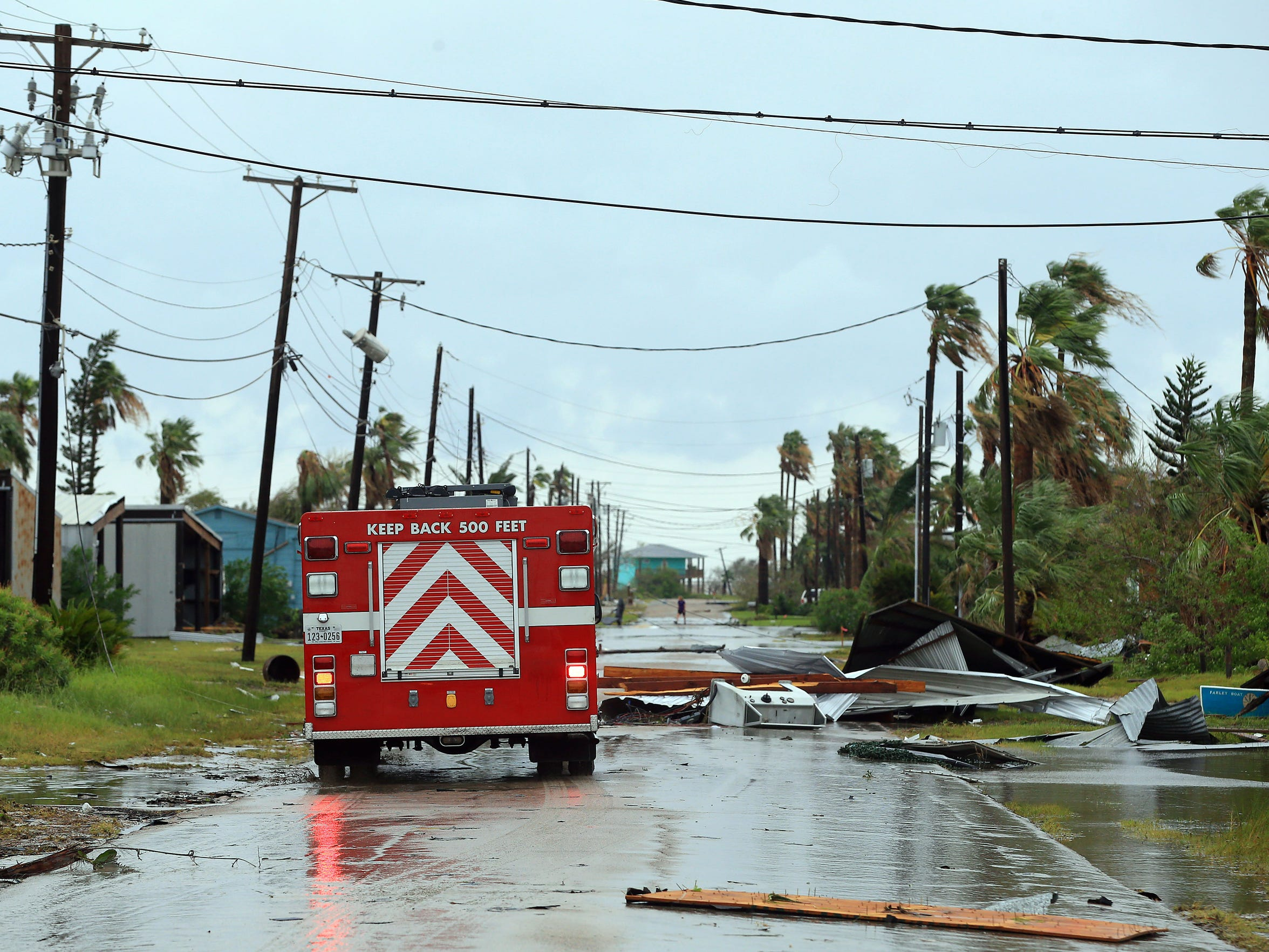 Port Aransas Fire Department survey the area after