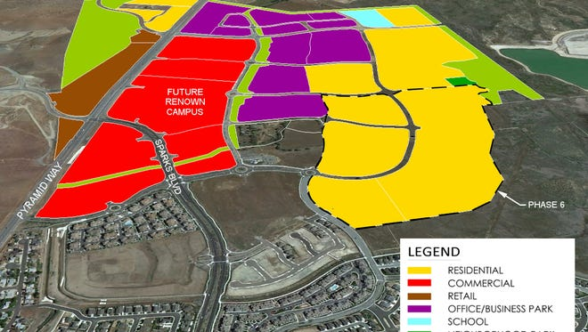 """This aerial view of Spanish Springs shows the overall Kiley Ranch North project. """"Phase 6"""" in the lower right is a residential portion with about 1,100 housing units that recently received tentative approval from the city of Sparks planning department."""
