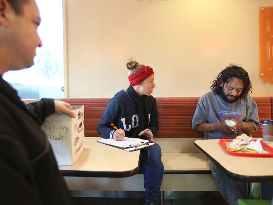 Ashley Willis, left, interviews Simon Palacio about his living situation in Desert Hot Springs, January 26, 2016.  Palacio said he lives on the streets sometimes.