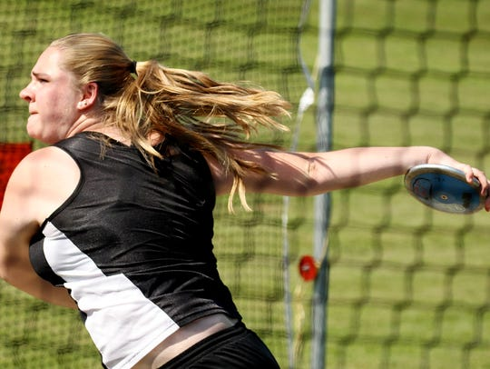 Wilson Memorial's Tara Ingersoll competes in the discus