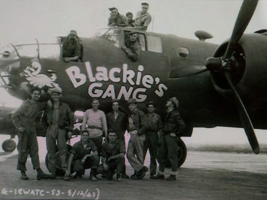 "A photo of Army Air Corps pilot John L. ""Blackie"" Porter III and his ""Blackie's Gang"" crew in 1943."