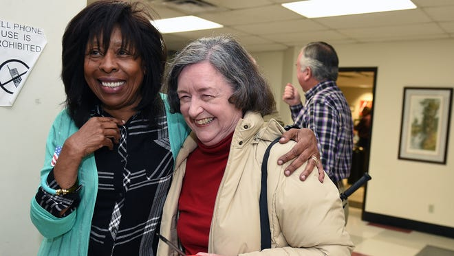 Naomi Drake, left, congratulates Franklin Alderman Ann Petersen during election returns Tuesday, Oct. 27, 2015, at the Williamson County Administrative Complex.