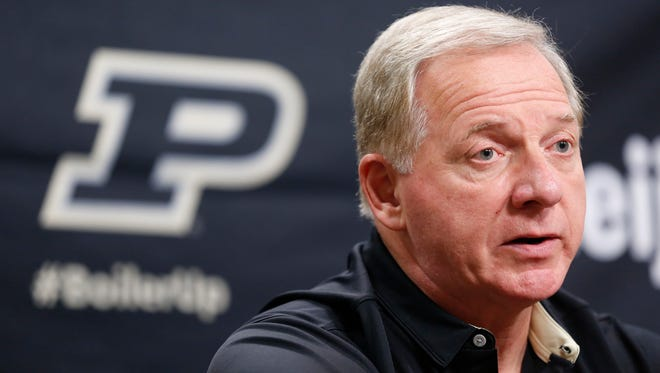 Purdue Athletic Director Mike Bobinski announces that Darrell Hazell has been fired as head football coach Sunday, October 16, 2016, at Purdue University. Gerad Parker was named as interim head coach. The Boilermakers are 3-3 for the season, 1-2 in the Big Ten after losing to Iowa 49-35 Saturday.