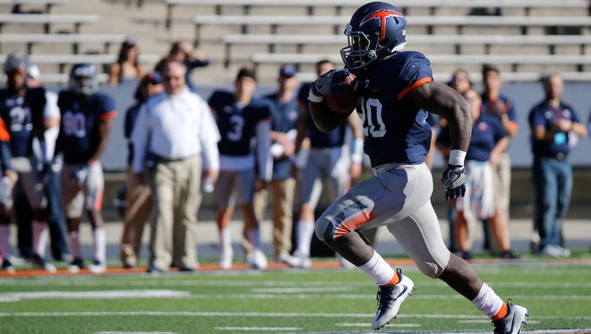 UTEP freshman running back Joshua Fields breaks a run down the middle of the field during first quarter action in the Miners game against La Tech in the Sun Bowl. The Bulldogs would go on to hand UTEP its eleventh straight loss of the season by a score of 42-21..