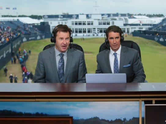 Terry Gannon (right) teams with Nick Faldo to call