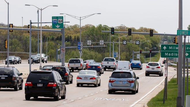 Traffic at the intersection of I-94 and Pewaukee Road in Pewaukee.