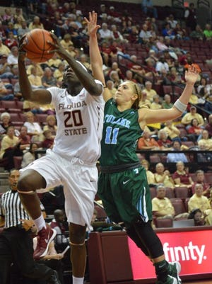 Shakayla Thomas drives to the hoop for 2 of here 26 points as FSU defeated Tulane 78-72.