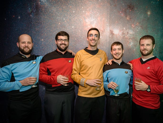 """From left, Chris and Sean Maley, Sean Leary, and Matt and Brett Maley, all of Rochester. Rochester Museum & Science Center presents """"After Dark: Sci-Fi"""" on Oct. 18, 2013."""