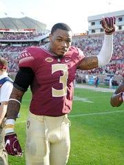 Florida State Seminoles defensive back running back Derwin James (3) after the game against the Louisiana Monroe Warhawks at Doak Campbell Stadium.