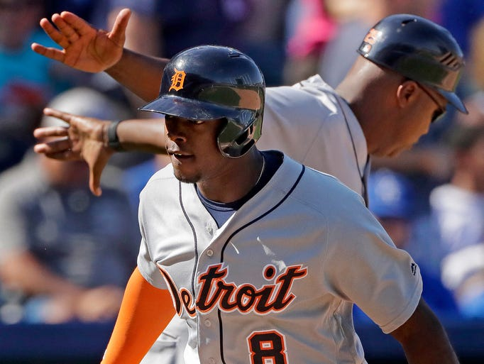 Detroit Tigers' Justin Upton (8) celebrates with third