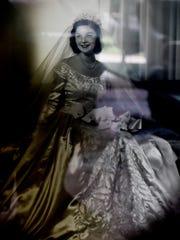 Artist Jerry Wray in her wedding dress.