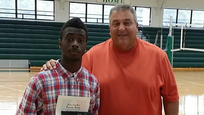 Tyrone Davis and Fort Myers coach Sam Sirianni