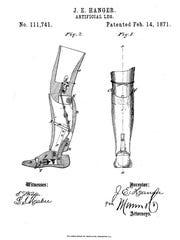 1871 patent for Hanger's prosthetic leg.
