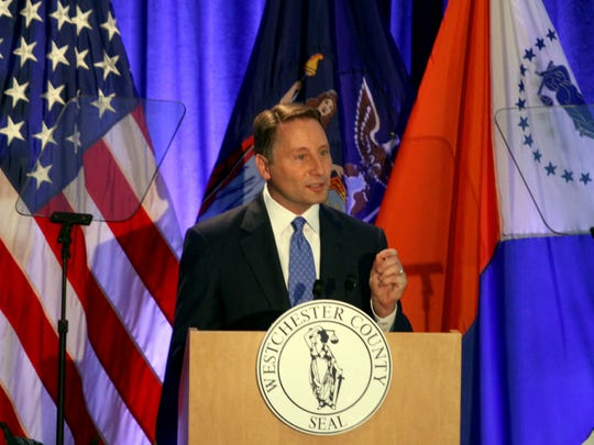 Westchester County Executive Rob Astorino delivers his State of the County Address at the Westchester County Courthouse on April 20, 2017.