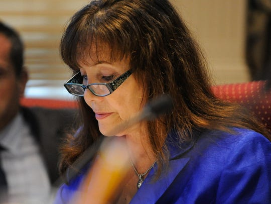 Sen. Catherine Cloutier, R-Arden, is seen at a meeting of the Joint Finance Committee at Legislative Hall in Dover, Del.