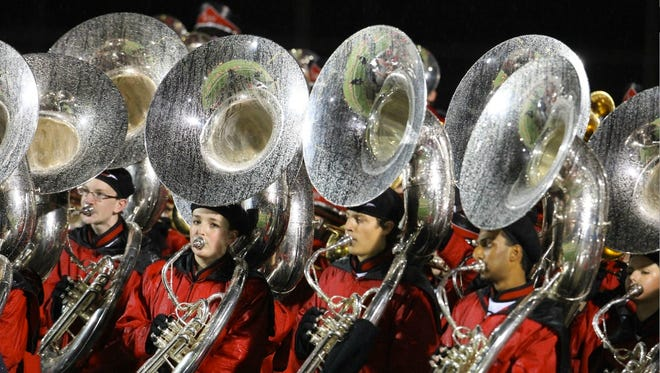 The tuba section of the Lakota West High School marching band.