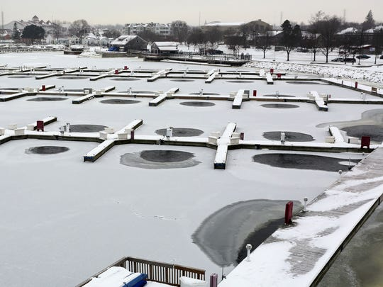 The Sheboygan Marina now has 120 dock aerators that are hoped to prevent ice damage Friday December 16, 2016 in Sheboygan.  The units are expected to reduce the thousands of dollars of ice damage sustained each year by the docks.