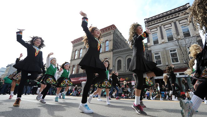 Trinity Academy of Irish Dance dancers participate in The Shamrock Club of Wisconsin''s 2016 St. Patrick's Day Parade.