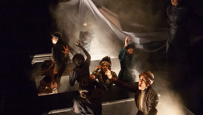 """The cast of """"The Many Deaths of Nathan Stubblefield,"""" part of the 2017 Humana Festival of New American Plays at Actors Theatre of Louisville."""