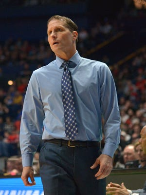 Nevada Wolf Pack head coach Eric Musselman reacts during the first half against the Texas Longhorns in the first round of the 2018 NCAA Tournament at Bridgestone Arena.