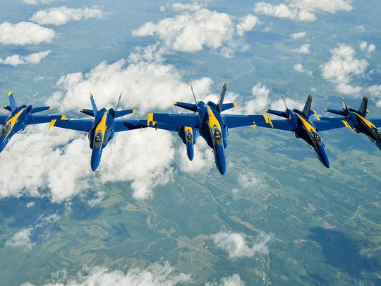 The Blue Angels in flight can fly as close as 18 inches apart.