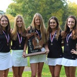 Seaholm's girls golf team (left to right) Emma Whittington, Olivia Gooch, Hailey Roovers, Cate Joelson and Mary Neal, left the Division 2 state meet with the runner-up trophy.