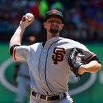 San Francisco Giants starting pitcher Mike Leake has
