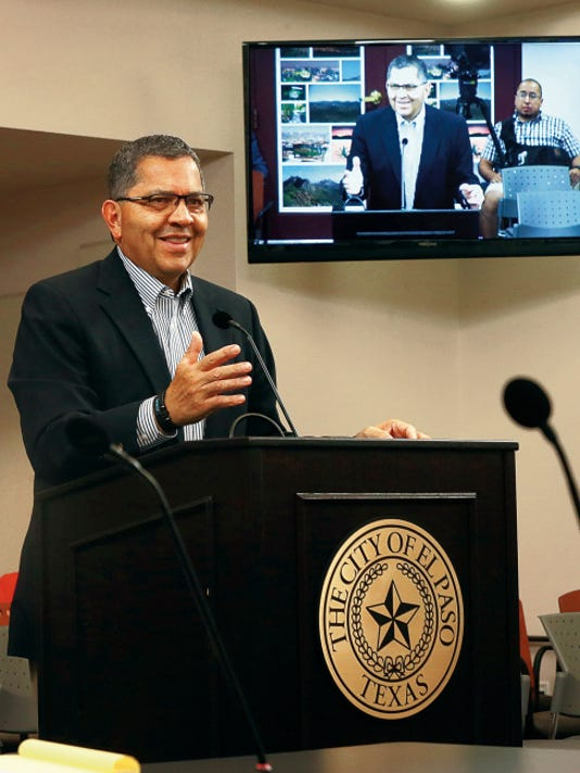 Former El Paso Mayor Joe Wardy spoke during a meeting Monday in the second floor conference room at City Hall.